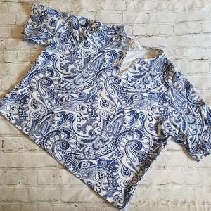 Denim & Co. Blue Paisley Blouse